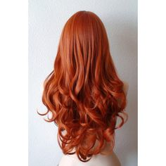 Ginger red wig. Long wavy soft layered hair long side bangs wig for... ($90) ❤ liked on Polyvore featuring beauty products, haircare, hair styling tools, hair, hairstyles and hair styles