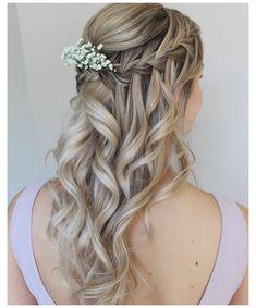 Pretty Braided Hairstyles, Flower Girl Hairstyles, Box Braids Hairstyles, Bride Hairstyles, Down Hairstyles, Bridesmaid Hairstyles, Updo Hairstyle, Latest Hairstyles, Waterfall Braid With Curls