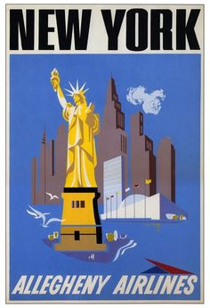 1950s Allegheny Airlines New York Travel Poster