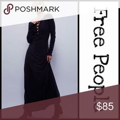 """FREE PEOPLE MAXI DRESS 💟NEW WITH TAGS💟    FREE PEOPLE MAXI DRESS   * Super soft & comfortable   * Lace-up neck   * Long sleeves   * Approx 60"""" long   * Super soft & stretch-to-fit   * Unfinished edges   * Pullover    FABRIC: 100% jersey cotton     COLOR: Black      Item#  🚫No Trades🚫 ✅ Offers Considered ✅  Key search words# long boho shabby chic magic v neck Free People Dresses Maxi"""