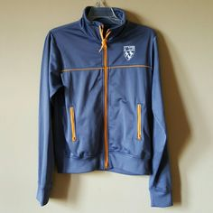 Gray BDG Rugby Zip Jacket NWOT Gray polyester jacket with orange accents and zipper. Never worn! Super soft outer shell, inner is polyester and so comfy. BDG Jackets & Coats