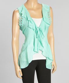 Look at this Simply Irresistible Mint Ruffle Lace-Back Vest on #zulily today!