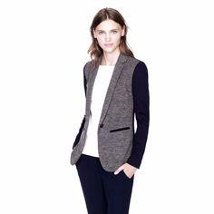 J. Crew Contrast Knit Blazer jacket wool cotton gray navy size 8 slim fit button  | eBay