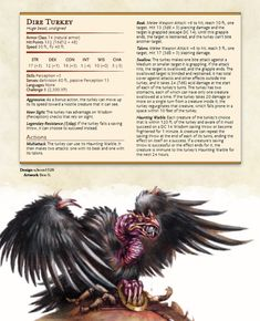 [OC] In Dungeons & Dragons, Turkey eats You! Dungeons And Dragons Rules, Dungeons And Dragons Classes, Dungeons And Dragons Characters, Dungeons And Dragons Homebrew, Dnd Characters, Curious Creatures, Mythical Creatures, Dnd 5e Homebrew, Dnd Monsters