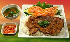 When it comes to vietnamese food it may not be as diverse as you think. You may have had several things in this picture such as steak, rice,miso soup, tomato and some lettuce. Although this might not be the most all out vietnamese food/chinese because they are very similar, it is what many restaurants serve in vietnam.