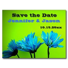 Teal Turquoise Gerber Daisies Lime Green Save Date Postcard
