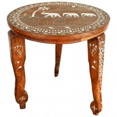 Side Table Inlaid with Elephant Head and Mother-of-Pearl