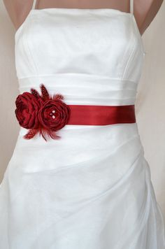 Handcraft Crimson Red Two Flowers With Feathers by elitewomen, $39.50 - Aside from whites, cream, oyster, greys, and light pastels that look neutral and compliment the shade of the bride's dress beautifully. See next item post re: color trends.