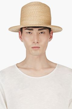 ANN DEMEULEMEESTER Golden Round Straw Hat
