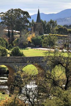 Richmond Bridge and Catholic Church, #Tasmania Photo by Aileen Newell, article for www.think-tasmania.com