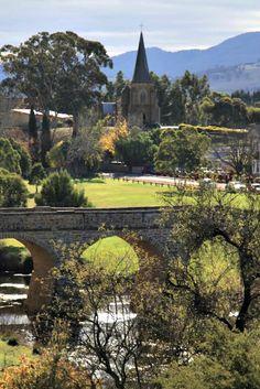 Richmond Bridge and Catholic Church, #Tasmania Photo by Aileen Newell, article for www.think-tasmania.com