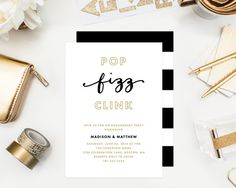 Pop Fizz Clink Engagement Party Invitation by fineanddandypaperie