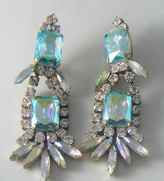 Czech Glass Blue Ice Clip Earrings