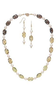 Jewelry Design - Single-Strand Necklace and Earring Set with Lemon, Smoky and Golden Quartz Gemstone Beads and Cultured Freshwater Pearls - Fire Mountain Gems and Beads