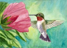 painting of a hummingbird | love to see the hummingbirds visit my garden since i don t have time ...