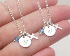 Baptism Gift For Twins, Baptism Gift Twin Girls, Initial Necklaces Twins, Girl First Communion Gift for Twins, Cross Necklace, Cross Jewelry...