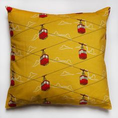 Onwards & Upwards. Cable Cars Yellow cushion £35.00 only 1 left.