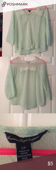 American Eagle Sheer Blouse Mint Green Sheer Shirt, barely worn like new American Eagle Outfitters Tops Blouses