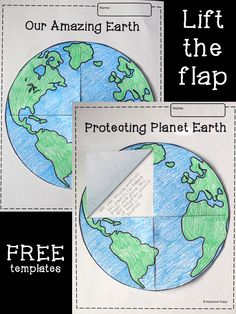 FREE lift-the-flap Earth template printable. Perfect to use for Earth Day or in a study of the solar system.