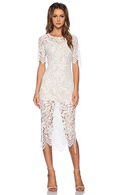 For Love & Lemons Luna Maxi Dress en Blanco