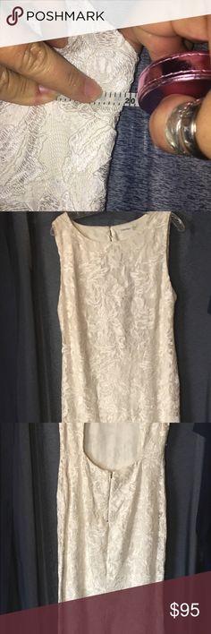 Calvin Klein Eggshell long formal dress wore once Eggshell lace,open center back, beautiful fitting long formal dress Calvin Klein Dresses Maxi