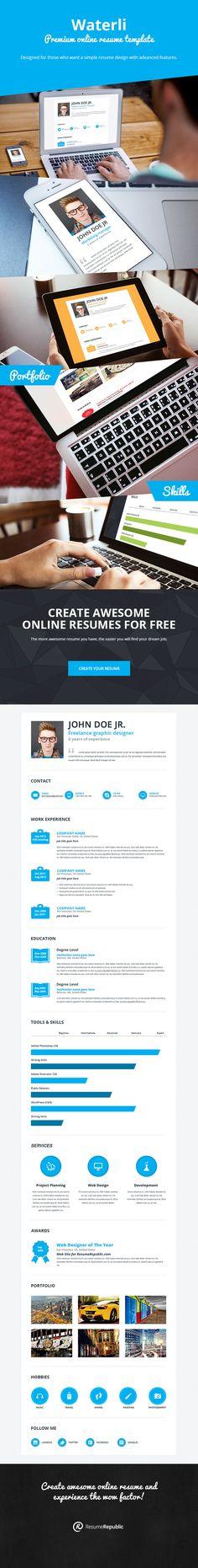 Waterli | Premium online resume template