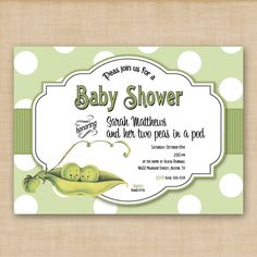 adorable twin baby shower invite