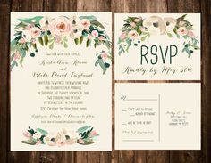 Beautiful vintage looking water colored invitations... This is perfection. Your cost for this look can be any where.  A garden affair, a romantic vintage boho wedding. A simple family small elegant backyard ceremony during the spring. Just love what you do./comments:gem junkie jewels
