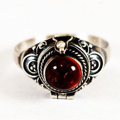 Poison Ring with Orange Amber Stone Sterling Silver by Spoonier, $48.00