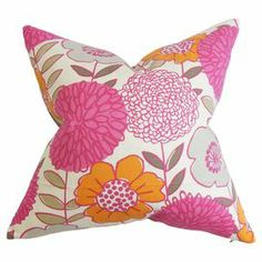 "Cotton pillow with a down insert and floral motif. Made in the USA.  Product: PillowConstruction Material: Cotton cover and 95/5 down fillColor: Orange, pink and whiteFeatures:  Insert includedHidden zipper closureMade in Boston Dimensions: 18"" x 18""Cleaning and Care: Spot clean"