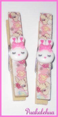 Kawaii Bunny Altered Clothespins by kawaiislandgurl72 on Etsy, $3.50