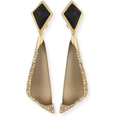 Alexis Bittar Lucite Encrusted Pave Clip-On Earrings ($220) ❤ liked on Polyvore featuring jewelry, earrings, joias, ohrringe, orecchini, warm grey, drusy earrings, pave jewelry, alexis bittar earrings and gray earrings
