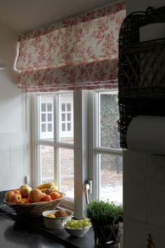 Love the Toile de Jouy blinds. Interior by Mart Kleppe.