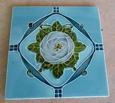 "Original  English Abstract Art Nouveau tile 6""x6""c1909/20, ref 566 the only one"