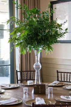 Tall all greenery centerpiece Round Table Centerpieces, Greenery Centerpiece, Happily Ever After, Floral Arrangements, Conference, Lisa, Wedding Ideas, Plants, Women