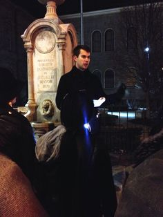 Ghost Walk guide Alex shares the story of the St. Catharines poltergeist on the April 4 Full Moon Ghost Walk in Downtown St. Catharines (2015).