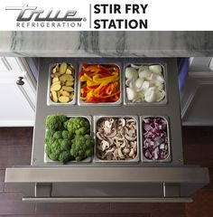 Work like a pro with the TRUE Drawer Pan Kit in Refrigerator Drawers. Use your pans for the accessible storage of prepped ingredients for tonight's stir fry. Throw them on the range when ready.