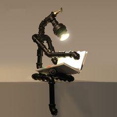 Loft vintage wasser rohr tischlampe personalisierten tieyi roboter lampen