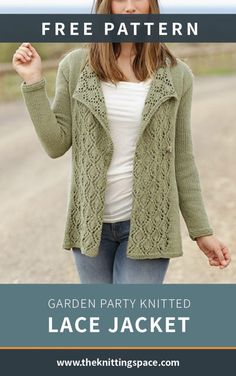 Make this glamourous Garden Party Knitted Lace Jacket for spring. With this piece of garment your look will always be classy and simple. Lace Knitting Stitches, Tunisian Crochet Patterns, Lace Knitting Patterns, Lace Patterns, Knitting Charts, Knitting Sweaters, Knitting Tutorials, Knitting Machine, Crochet Granny