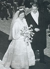 goddesssaintnoblewomannun: Wedding of Princess Astrid of Norway and Johan Martin Ferner, January 12, 1961-the couple leave the church