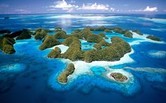 Rock Islands, Southern Lagoon, Palau. Spanning a 1000 square km, the Rock Islands Southern Lagoon comprises of a 445 densely vegetated limestone islands surrounded by coral reefs. Located to the south of Babeldaob, in the western Pacific Ocean, the lagoon network boasts a dazzling mixture of local wildlife as well as the remains of island communities dating back three thousand years. It was designated a World Heritage Site in 2012. [Olivier Blaise/Getty Images]
