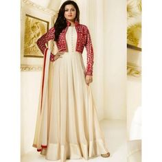 Dresses - Buy Drashti Dhami beige color georgette jacket style party wear salwar kameez in UK, USA and Canada Kurti Neck Designs, Kurti Designs Party Wear, Dress Neck Designs, Mode Bollywood, Bollywood Dress, Indian Designer Outfits, Designer Dresses, Designer Wear, Denim Outfits