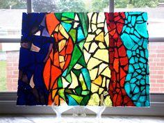 Glass Mosaic Window Art  Rainbow Abstract by bangflashbam on Etsy, $144.00