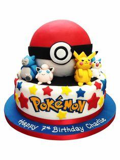 Pokemon Cake, Creative Pokemon Birthday Party Ideas via Pretty My Party Pokemon Torte, Pokemon Cakes, Pokemon Pokemon, Bolo Pikachu, Pikachu Cake, Festa Pokemon Go, Pokemon Birthday Cake, Birthday Cakes, Themed Cakes