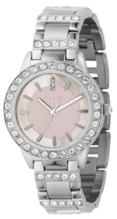 Fossil Women's ES2189 Stainless Steel Bracelet Pink Mother-Of-Pearl Glitz Analog Dial Watch.