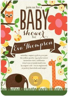 Welcome to the jungle little one! 'Nature's Nursery' Baby Shower Invitations by Ann Kelle