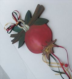 Pomegranate Fruit On a Tree Branch - Home Decor - Wall Hanging - Wooden Gift - Wooden Cutout - Wooden Cutting Board, Pomegranate Benefits, Pomegranate Fruit, Wooden Gifts, Handmade Wooden, Wooden Cutouts, Wooden Wall Decor, Wooden Projects, Wooden Crates, Hanging Art