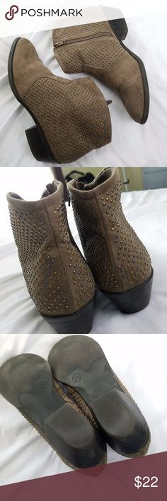 Faux Suede Studded Booties Faux suede taupe brown studded booties - ankle boots. Zips up on inside. Size 8.5 Gently preowned, with minor signs of wear - lots of life left. Merona Shoes Ankle Boots & Booties