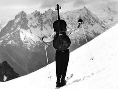 """vintageski: """" Robert Doisneau's photo of mountaineer, actor and renowned cellist Maurice Baquet, circa """" Ski Vintage, Photo Vintage, Henri Cartier Bresson, Robert Doisneau Photos, Maurice Baquet, Musée Rodin, Chamonix, French Photographers, Expositions"""
