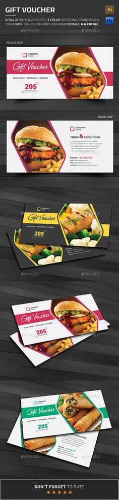 Buy Gift Voucher by themedevisers on GraphicRiver. Modern Gift Card / Gift Certificate This Gift Voucher Card is best suitable for promoting your business, product or . Gift Card Template, Gift Certificate Template, Certificate Design, Gift Certificates, Food Vouchers, Gift Vouchers, Menu Design, Food Design, Layout Design